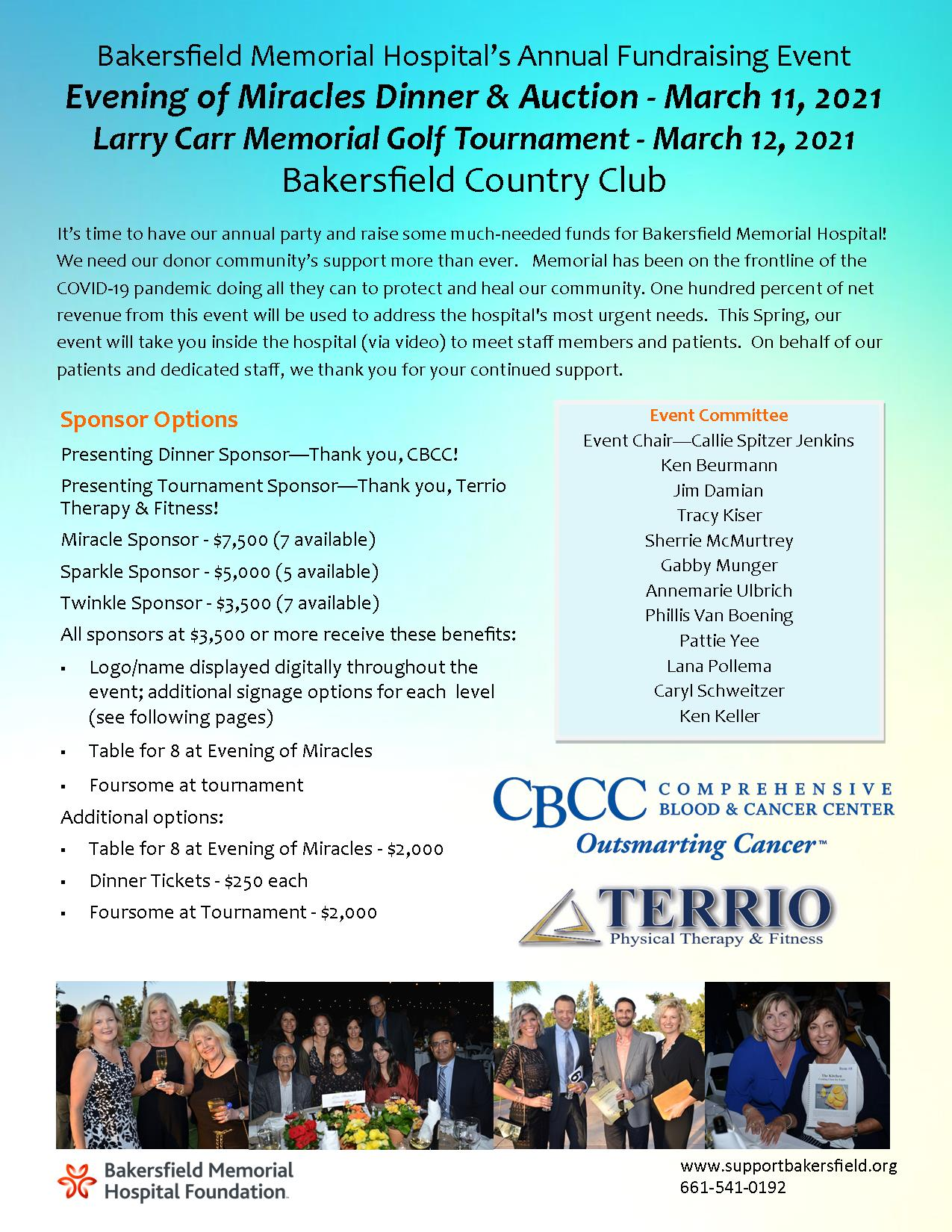 Evening of Miracles & Golf Tournament Sponsorship Information